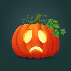 Sad oval orange pumpkin illuminated from the inside with green leaves and vines. Halloween vector icon.