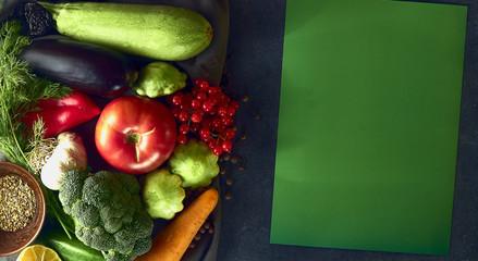 Still life of fresh vegetables on a dark background