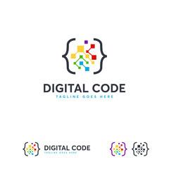 Digital Code logo designs template, Fun Coding logo symbol