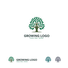 Growing logo designs template, Nature Oak logo template