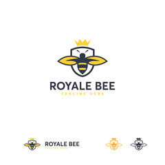 Royale Bee logo designs template, Honey Shield logo template designs