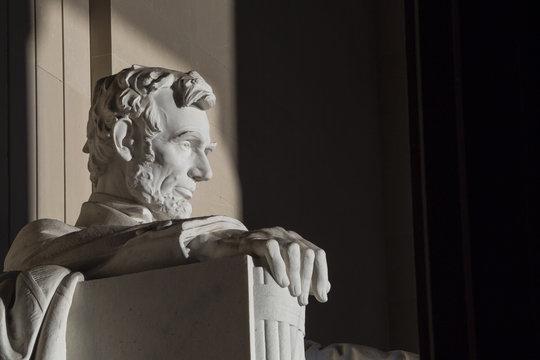 Close up Abraham Lincoln Statue at Memorial monument Washington DC