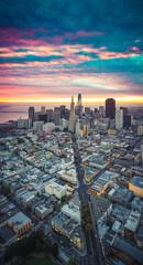 Fototapete - Aerial View of San Francisco Skyline at Sunrise