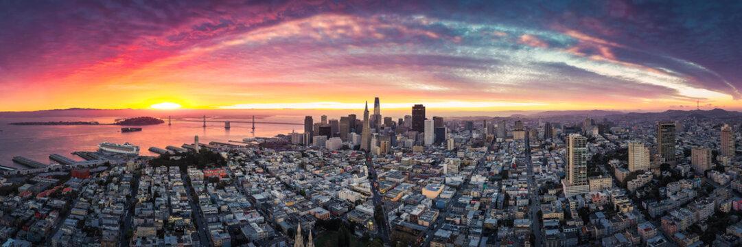 Aerial Panoramic View of San Francisco Skyline at Sunrise