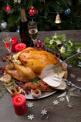 Carving Rustic Style Christmas Turkey