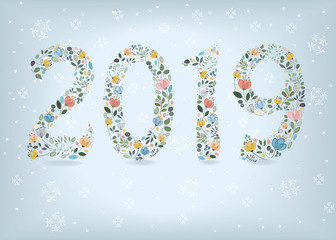 New Year 2019. Floral Number