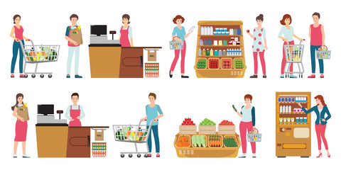 Customer and cashier in supermarket isolated on white.