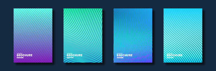 Minimal cover design. Halftone gradients, abstract geometric background. Set of abstract patterns for cover design in cold colors