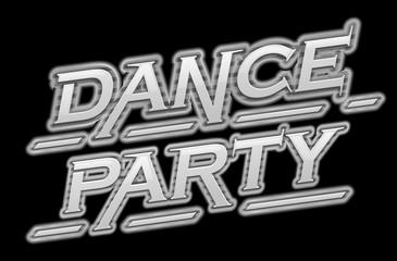 Dance party black scene text