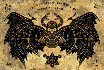 Winged demon with mystic symbols on grunge paper background. Esoteric, occult, new age and wicca concept, Halloween illustration with mystic symbols and sacred geometry