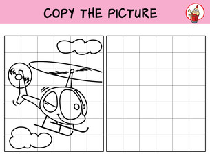 Smiling helicopter in flight. Copy the picture. Coloring book. Educational game for children. Cartoon vector illustration