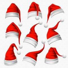 Santa Claus hats. Christmas red hat, xmas furry headdress and winter holidays head wear decoration 3D vector set