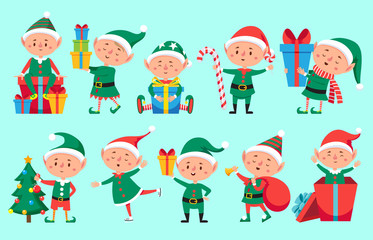 Christmas elf character. Cute Santa Claus helpers elves. Funny Xmas winter baby dwarf characters vector set