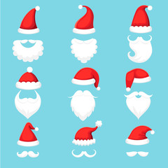 Santa Claus hat and beard. Christmas traditional red warm hats with fur, white beards with mustaches cartoon illustration vector set