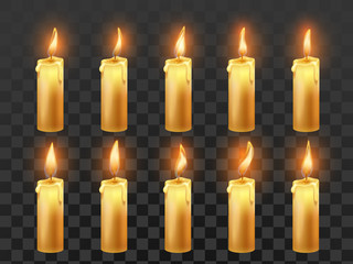 Candle fire animation. Burning orange wax candles, candlelight flame and animated fire flames isolated realistic vector symbol
