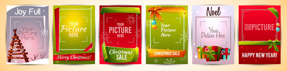Christmas greeting cards templates vector illustration with picture photo frame. Winter Happy New Year holiday posters design of Xmas tree, snowflakes and decorations with ribbons and gifts store sale