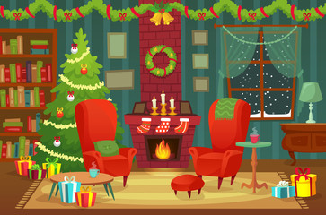 Decorated christmas room. Winter holiday interior decorations, armchair near fireplace and xmas tree vector background illustration