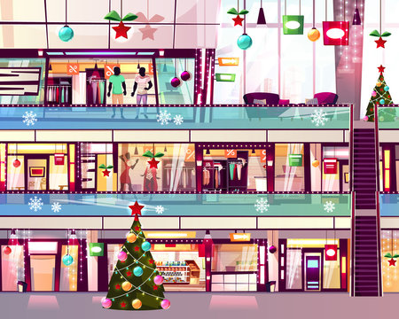 Christmas mall shops vector illustration of boutiques and Xmas tree at escalator staircase. Winter holiday decoration and sale on men and women clothes display window in multistory trade center