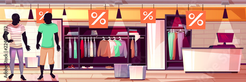 716617306ee Menswear fashion boutique interior vector illustration of men clothes sale.  Suits, trousers and shirts