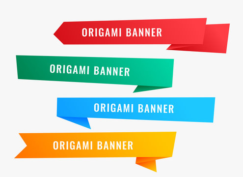 wide origami banners in ribbon style