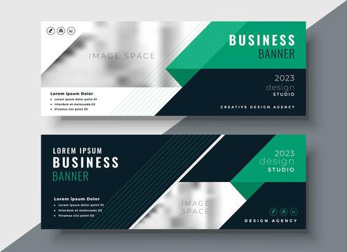 green abstract business banner design template
