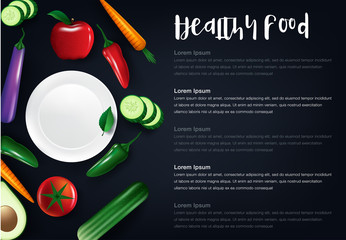 Low carbohydrate diet poster. Colourful vector illustration isolated on a dark grey background. Healthy eating concept