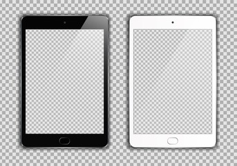 New Realistic set of White and Black Tablet PC Computer on transparent Background. Can Use for Template, Project, Presentation or Banner. Electronic Gadget, Device Set Mock Up. Vector Illustration