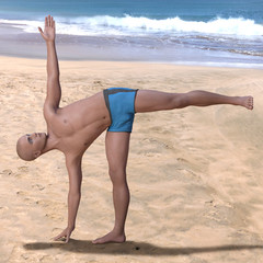 Bald man wearing blue briefs practising the ardha chandrasana yoga pose on a sandy beach, standing on right foot. Square 3d render.