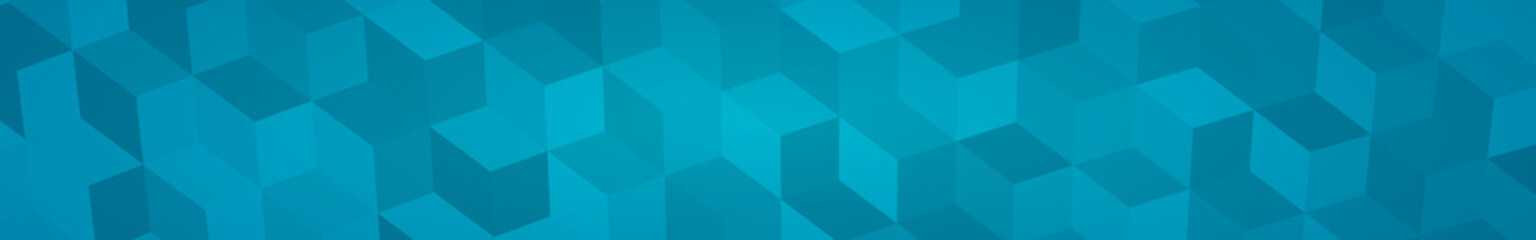 Abstract horizontal banner or background of big isometric cubes in light blue colors.