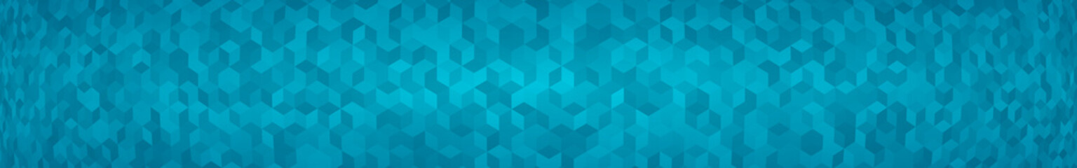 Abstract horizontal banner or background of small isometric cubes in light blue colors with the fish eye effect.