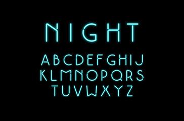 Decorative sans serif font with neon effect