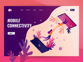 People connecting on mobile phone. Website landing page Template. Flat vector illustration
