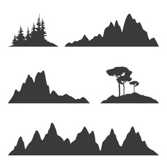 Mountain and trees silhouettes isolated on white. Set of outdoor design elements. Vector mountain ridges.