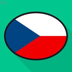 Czech flag speech bubble, social media communication sign, flat business oval icon.