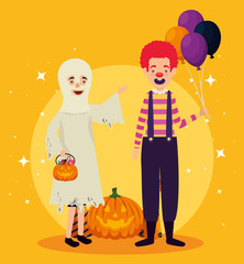 halloween card with ghost disguise and clown