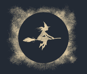 Illustration of flying young witch icon composed of particles. Witch silhouette on a broomstick. Halloween relative image.