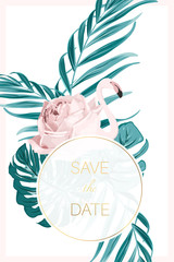 Wedding event invitation card template. Exotic pink flamingo birds body as rose flower . Tropical jungle forest green palm tree leaves. Round frame. Save the date text placeholder. Vertical layout.