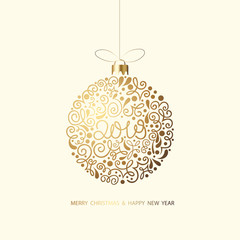 Merry Christmas and Happy New Year 2019 card with Christmas ball.
