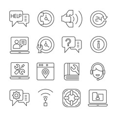 call service and support center icons outline on white background