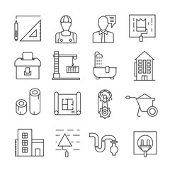 engineering and construction icons outline on white background