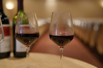 Glasses of red wine set on table in winery