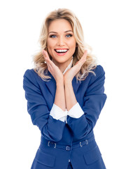 Jovial businesswoman in blue confident suit, isolated