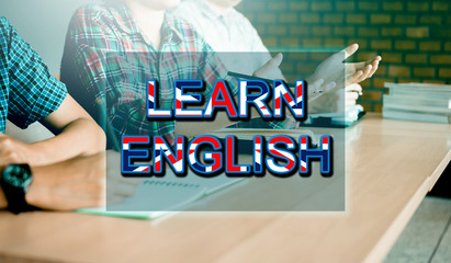 College students learning in class room and having fun with learn english concept.