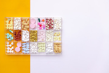 close up of different medication for background