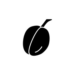 Black & white vector illustration of plum. Flat icon of fresh fruit. Vegan & vegetarian food. Health eating ingredient. Isolated object