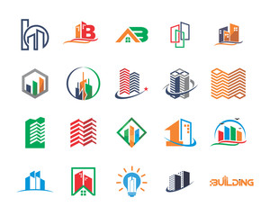 variation mixed skyscraper building image vector icon logo symbol set