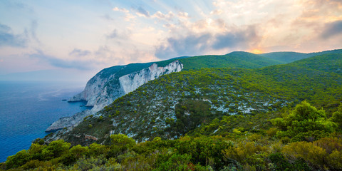 Kampi, the place for the most beautiful sunset in Zakynthos island. Summer time sunset in Zante