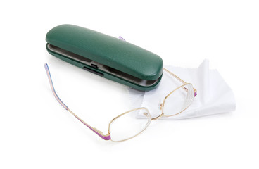 Modern classic eyeglasses for women and green hard spectacle-case