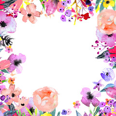 Watercolor Floral Background. Hand painted border of flowers. Good for invitations and greeting cards. Frame isolated on white. Rose, poppy and peony illustration Spring blossom