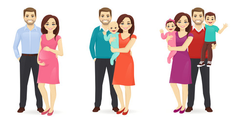 Set of family stages of development. Husband with pregnant wife. Parents with newborn baby. Mother and father with daughter and son. Vector illustration.